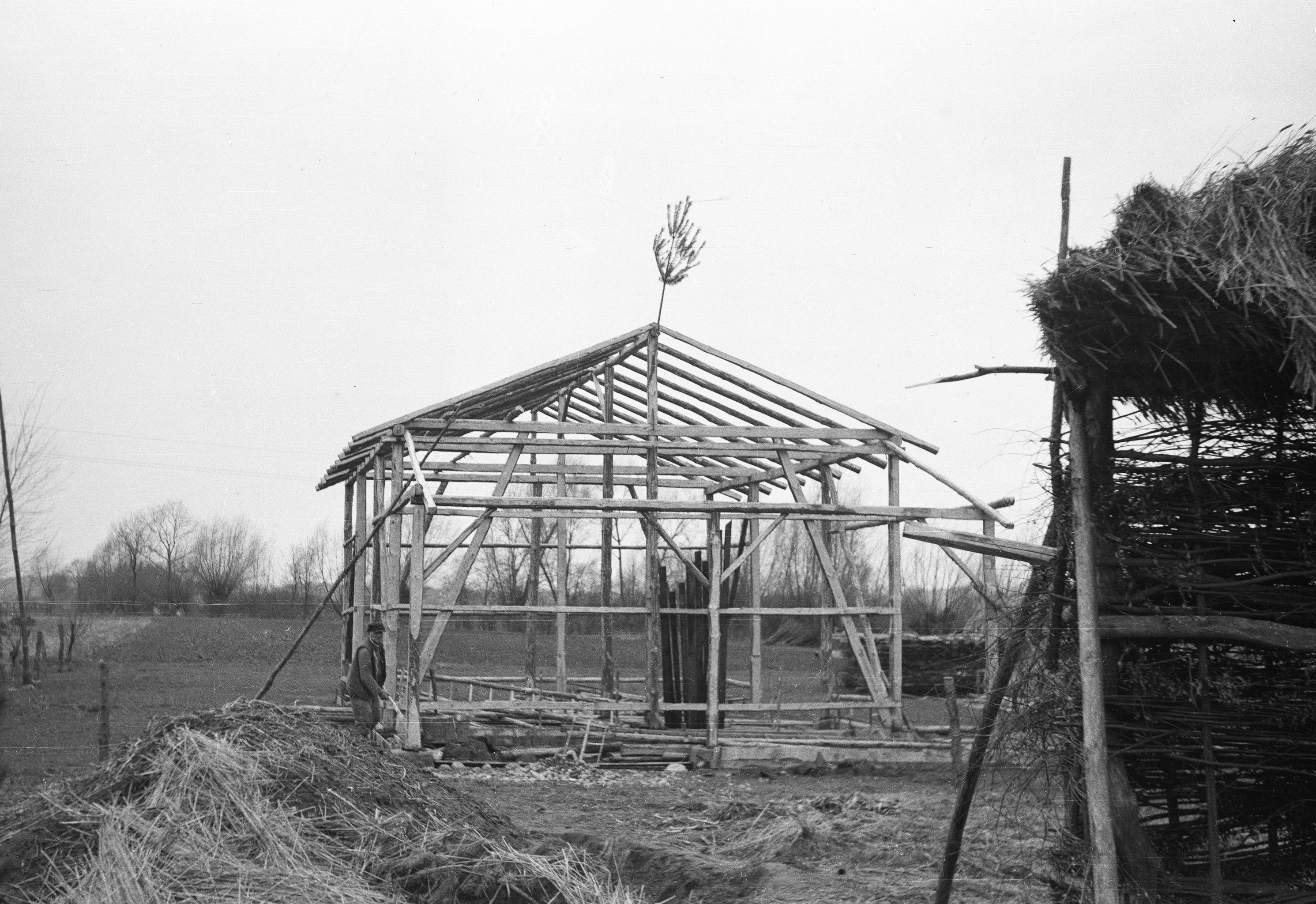 Budowanie stodoły, Brzózka, Dolny Śląsk, lata 50. XX w.