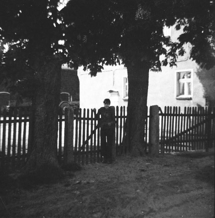 Jadzia przy płocie, w tle gospodarstwo Czyżowiczów, Brzózka, Dolny Śląsk, lata 80. XX w.