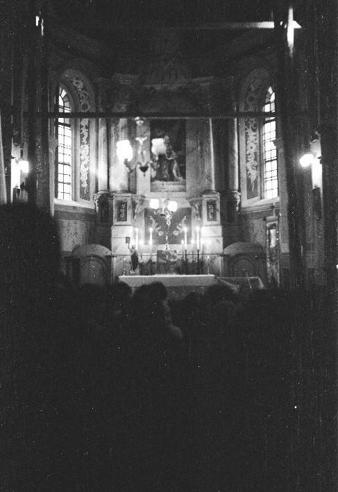 Ołtarz w kościele w Sąsiadowicach, lata 80. XX w.