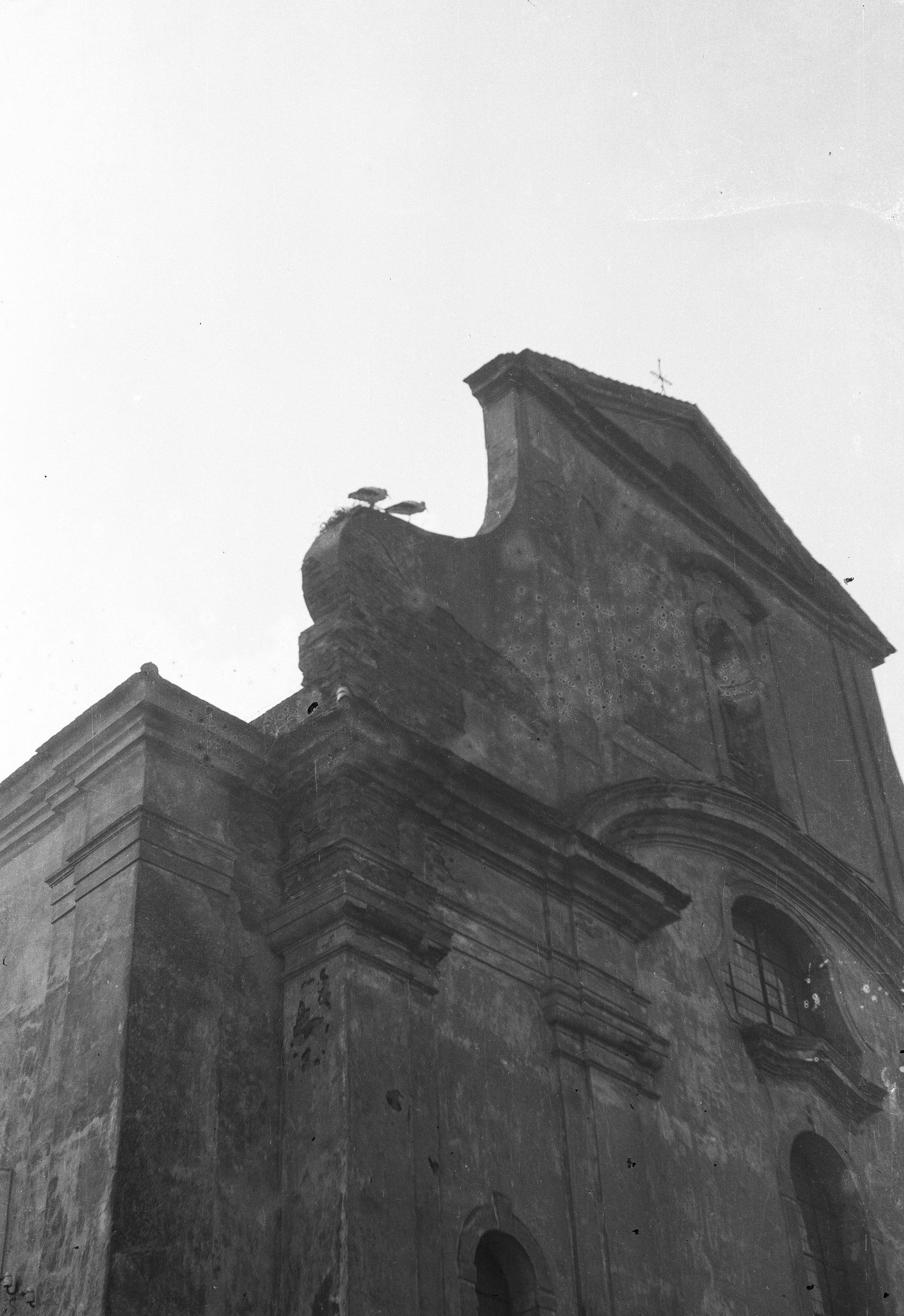 Część fasady kościoła w Głębowicach, Dolny Śląsk, 1957 r.
