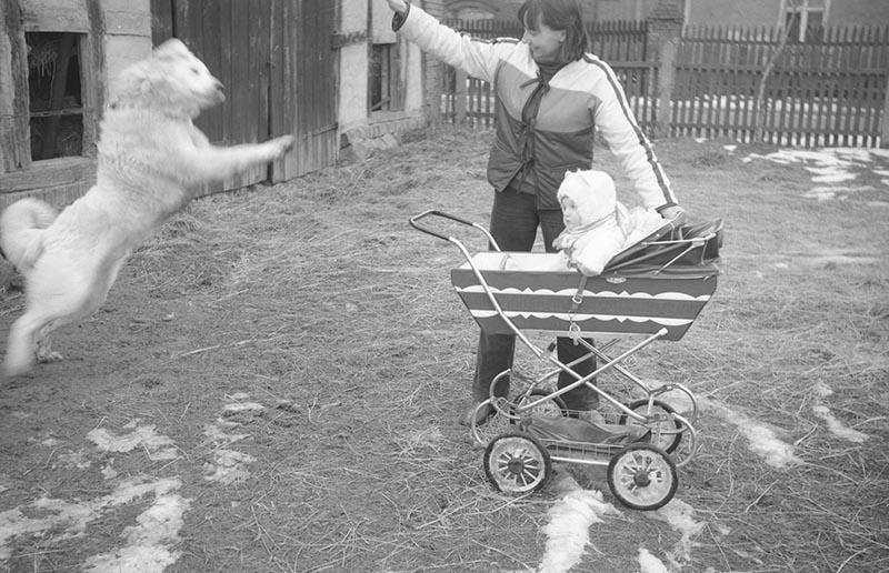 Zabawa z psem, Jadwiga Kaziów z córeczką Pauliną, Dolny Śląsk, lata 80. XX w.