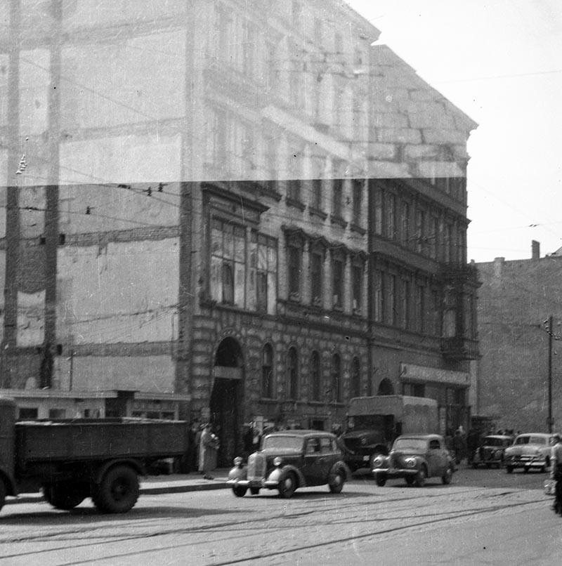 Ulica Świerczewskiego obecnie Piłsudskiego Wrocław, Dolny Śląsk, koniec lat 50. XX w.